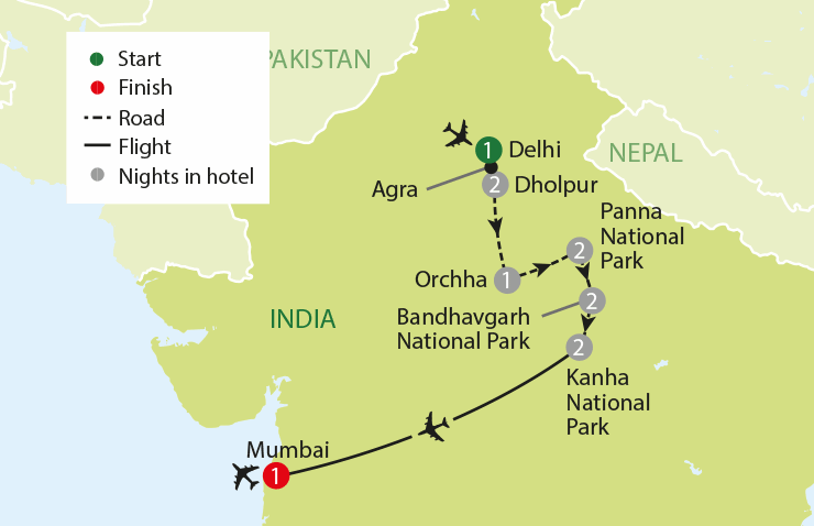 India's Tiger Trail tour map