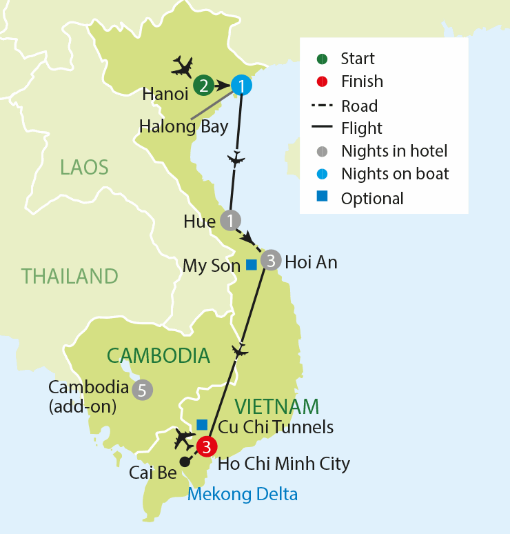 Discover Vietnam tour map