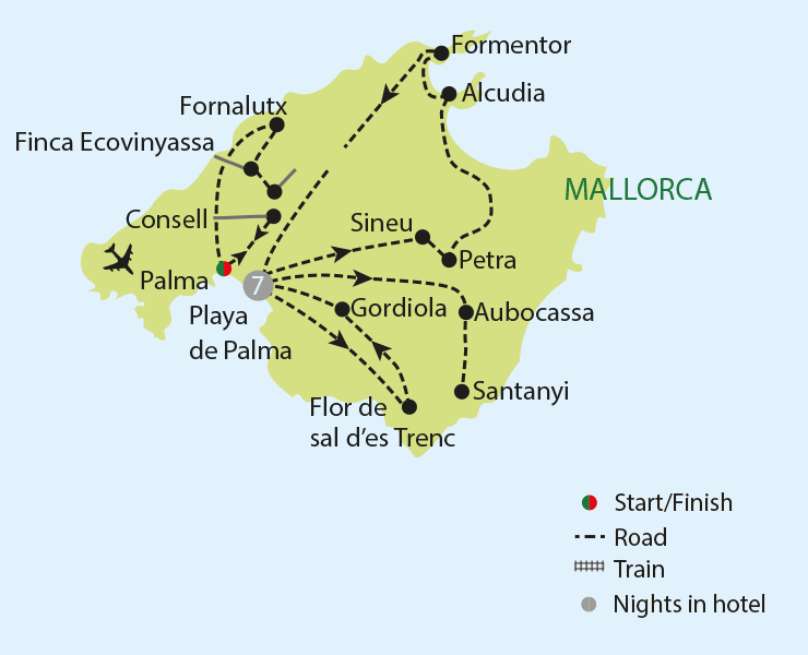 Flavours of Mallorca tour map