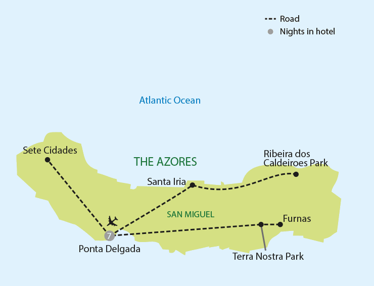 The Green Island of the Azores tour map