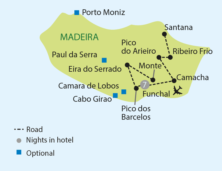 Madeira - The Pearl of the Atlantic tour map