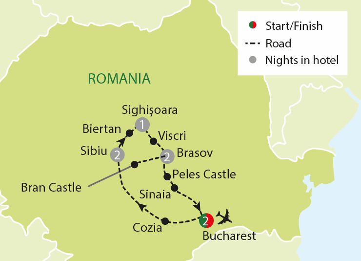 Bucharest Castles Transyvania tour map