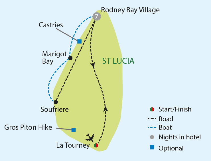 St Lucia: Island in the Sun tour map