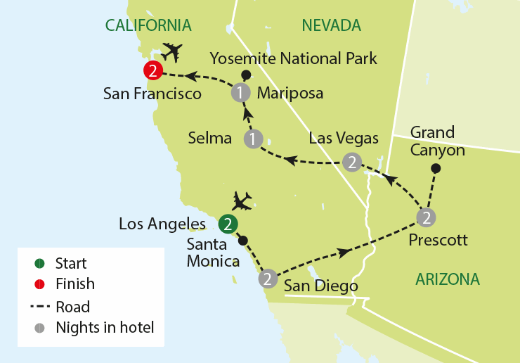 America's Western Highlights tour map