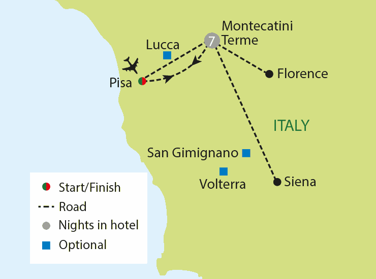 Highlights of Tuscany tour map