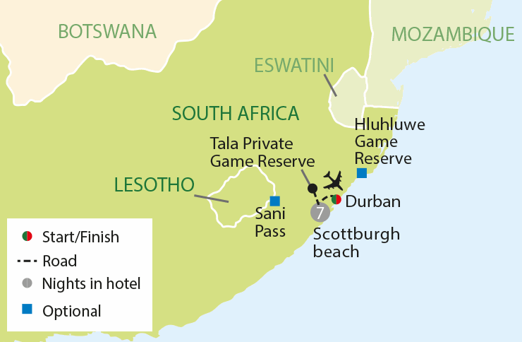 South African Sun & Safari tour map