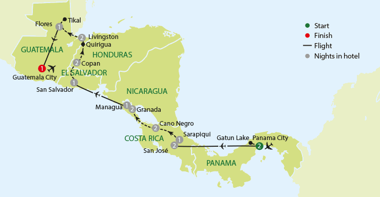 An Adventure through Central America tour map