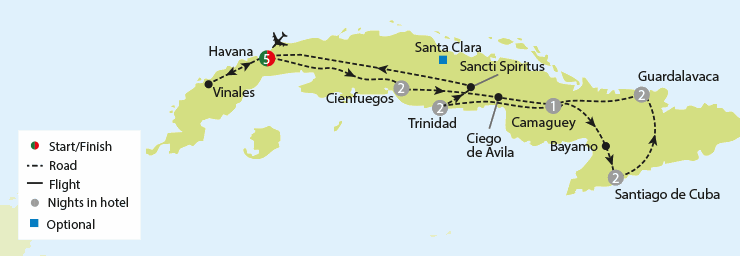 Cuba - Salsa, Cigars & Classic Cars tour map