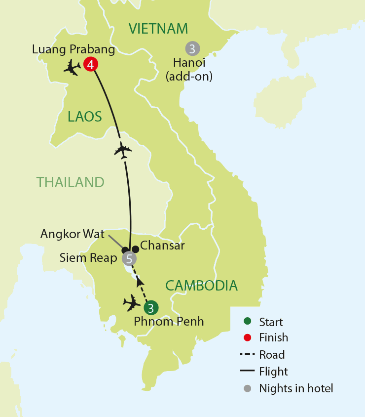 Untold Cambodia & Laos tour map