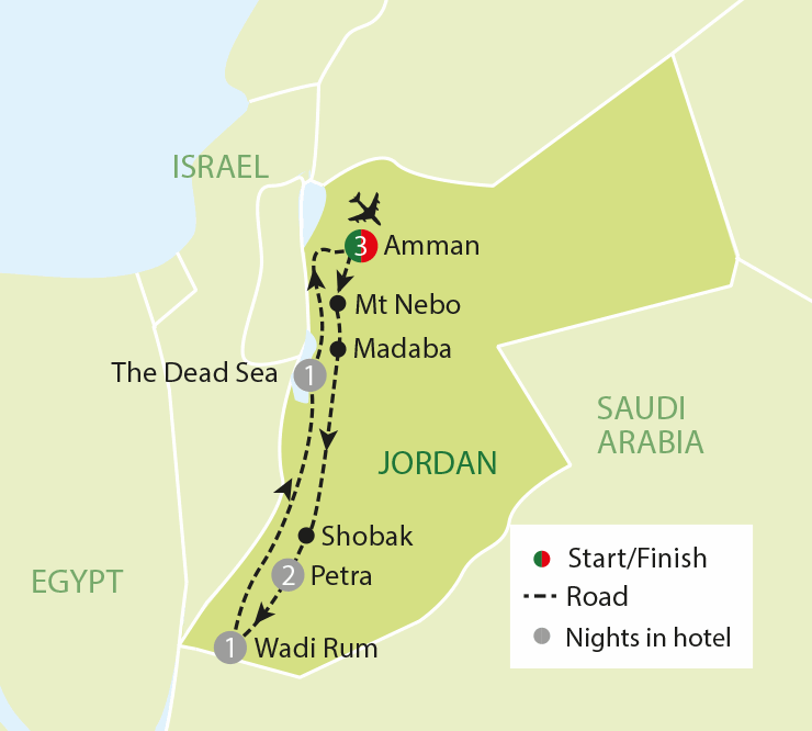 Jordan - A Land of Ancient Treasures & Empires map