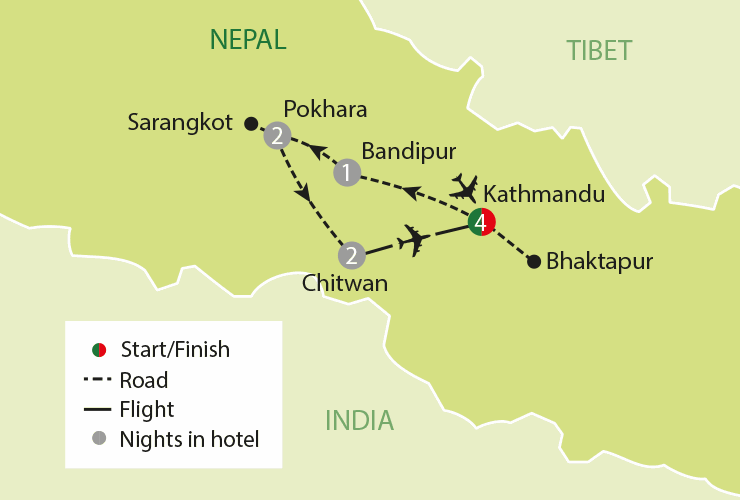 COLOURS OF NEPAL tour map