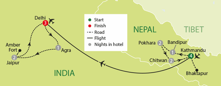 India And Nepal tour map
