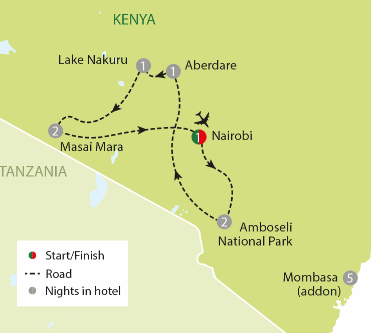 A Kenyan Safari Kilimanjaro To Masai Mara tour map