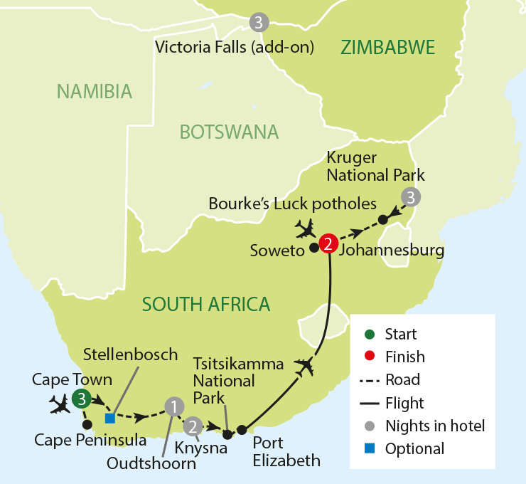 Experience South Africa tour map