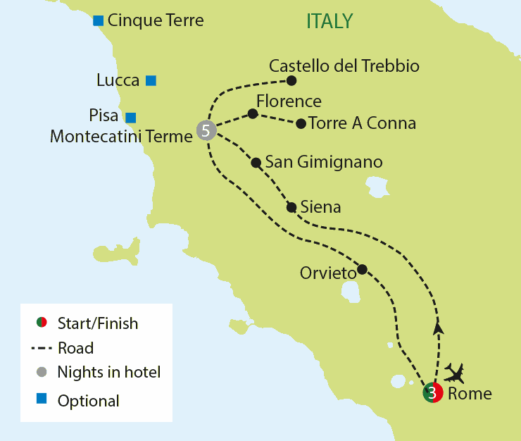 Wonders of Rome & Tuscany tour map